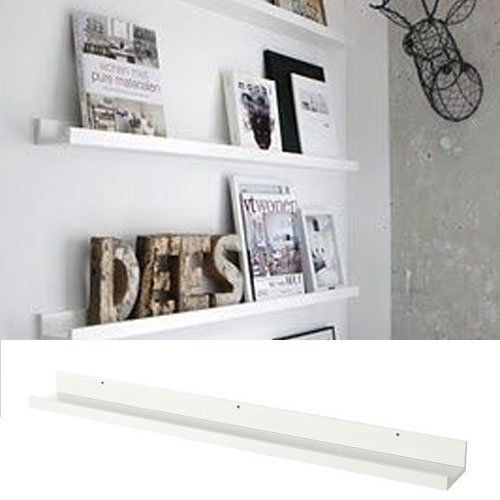 Modern Design Floating Picture Display Ledge Wall Mountable Shelf 46 Inches Long White