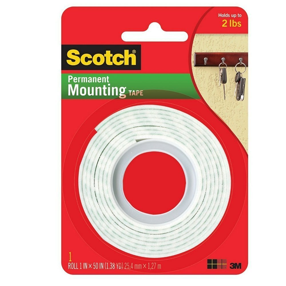 3M Scotch Heavy Duty Mounting Tape, 1-Inch by 50-Inch (Pack of 3)