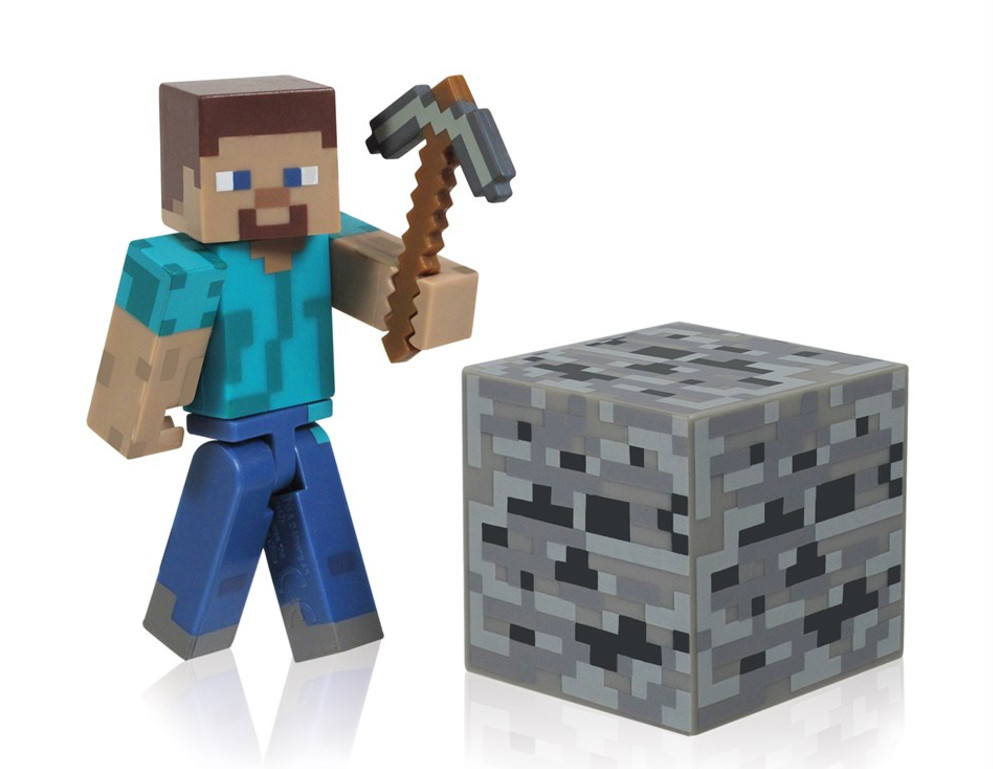 A Steve action figure from the popular game Minecraft. It's a great toy for the kids!